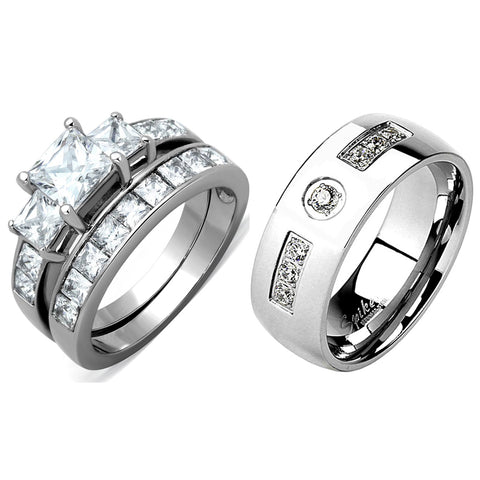 3 PCS Couples Ring Set Womens Princess Cut CZ Silver Stainless Steel Ring set / Mens Band with 7 CZs