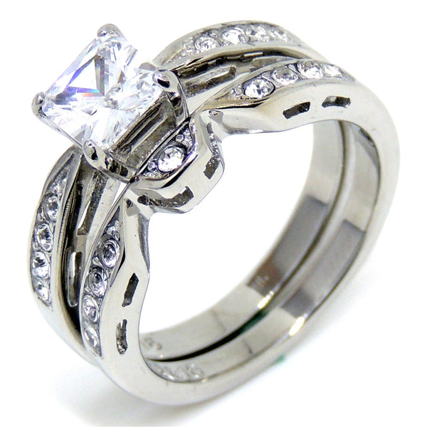 Hypoallergenic Wedding Rings: 1 Carat Princess Cut Clear CZ Stainless Steel
