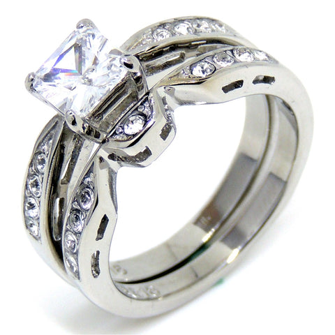 1 Carat Princess cut Clear CZ Stainless Steel Hypoallergenic Ring Set - LA NY Jewelry
