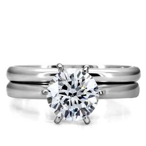 7mm Round Cut CZ Solitaire Stainless Steel Wedding Ring Set - LA NY Jewelry