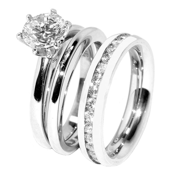 His Hers 3 PCS Solitaire CZ Stainless Steel Wedding Ring Set Mens All Around CZ Band - LA NY Jewelry