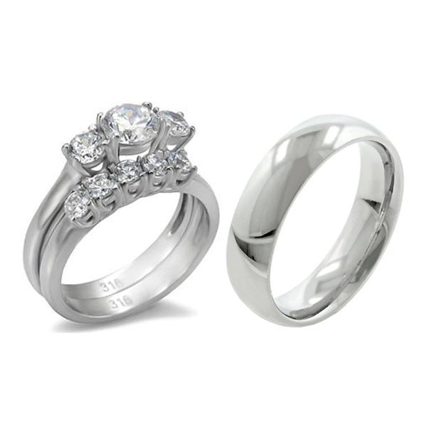 His Hers 3 PCS Stainless Steel 3-Stone CZ Engagement Ring Set and Mens Matching Band