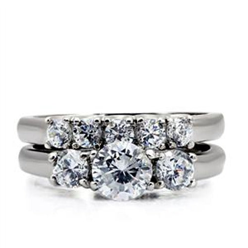 His Hers 3 PCS Stainless Steel 3-Stone CZ Wedding Ring Set Mens 9 Round CZ Band - LA NY Jewelry