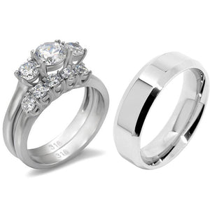 His Hers 3 PCS Stainless Steel 3-Stone CZ Wedding Ring Set with Mens Matching Flat Band