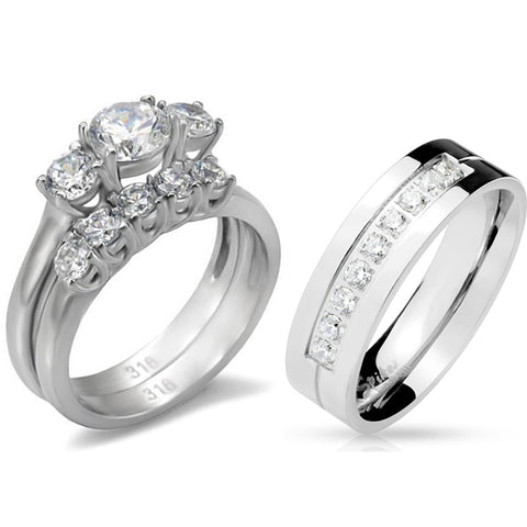 His Hers 3 PCS Stainless Steel 3-Stone CZ Wedding Ring Set Mens 9 Round CZ Band