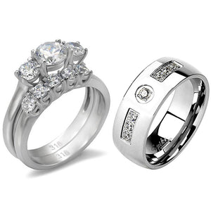 His Hers 3 PCS Stainless Steel 3-Stone CZ Wedding Ring Set with Mens 7 Clear CZ Band