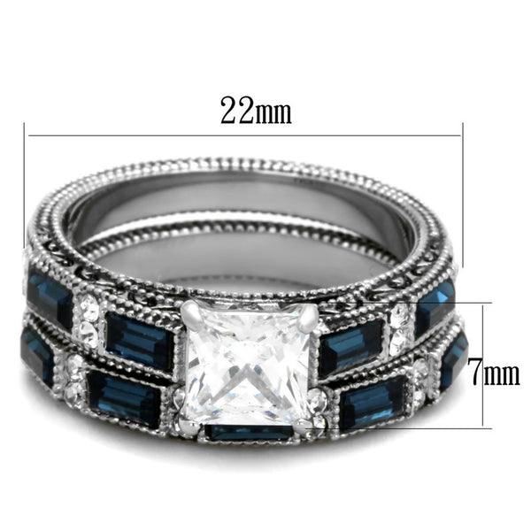 His Hers 3 PCS Stainless Steel Clear Princess CZ Deep Blue CZ Wedding Ring set Mens Flat Band - LA NY Jewelry