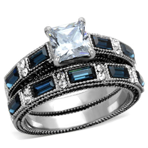 1 Carat Princess Cut CZ /Deep Blue CZ Stainless Steel Engagement Ring Set - LA NY Jewelry