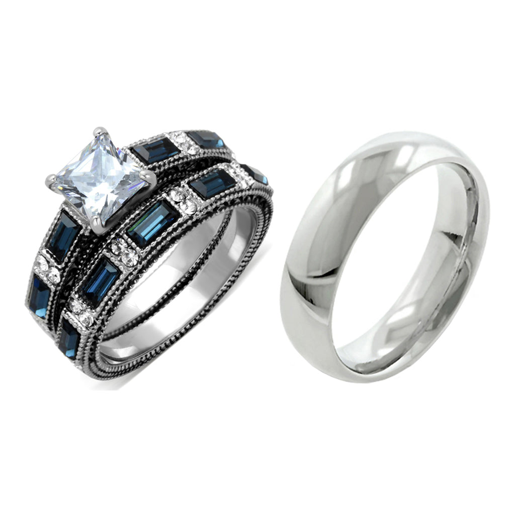His Hers 3 PCS Stainless Steel Clear Princess CZ Deep Blue CZ Wedding Ring set Mens Dome Band
