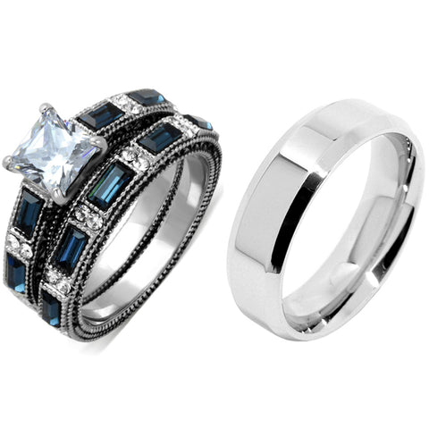 His Hers 3 PCS Stainless Steel Clear Princess CZ Deep Blue CZ Wedding Ring set Mens Flat Band