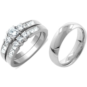 His Hers 3 PCS Silver Stainless Steel Small Round Cut CZ Wedding Ring set and Mens Band