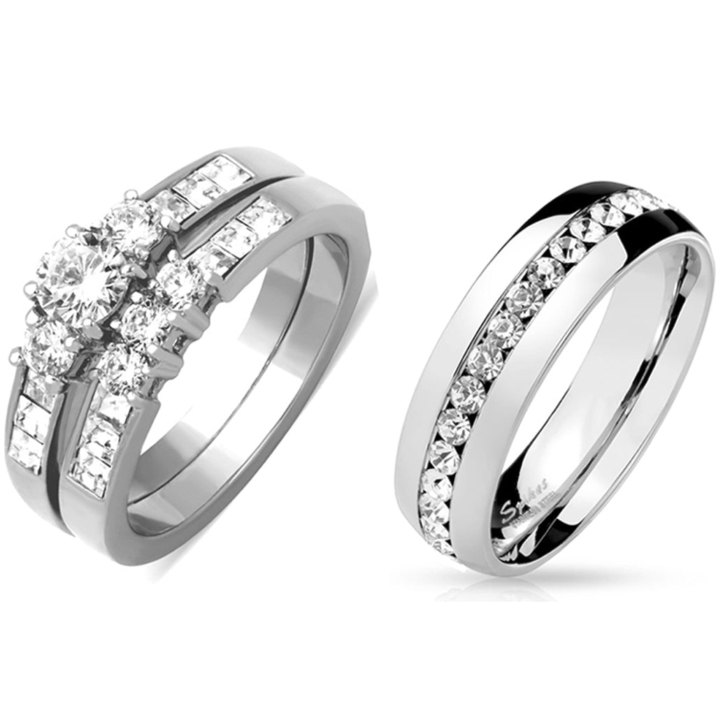 His Hers 3 PCS Stainless Steel Round Cut CZ Wedding Ring set Mens Matching All Around CZ Band