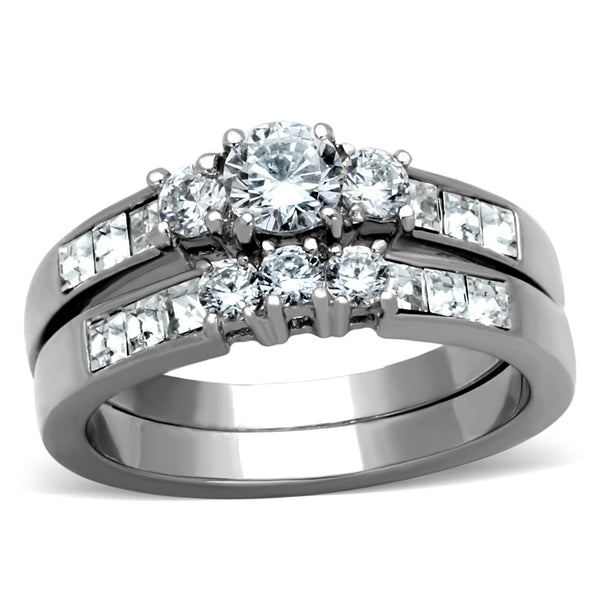 His Hers 3 PCS Stainless Steel Round Cut CZ Wedding Ring set Mens 7 Round CZ Band - LA NY Jewelry