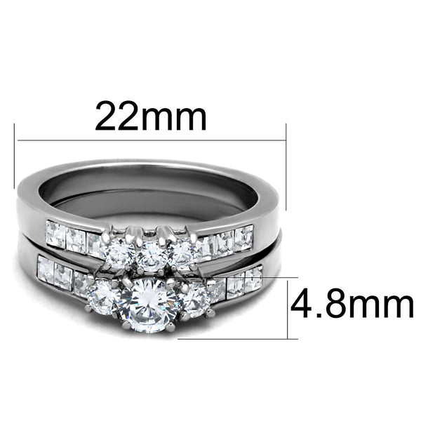 Three-Stone Type Brilliant CZ Stainless Steel Wedding Ring Set - LA NY Jewelry