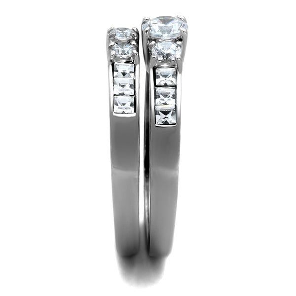 His Hers 3 PCS Stainless Steel Round Cut CZ Wedding Ring set Mens Flat Band - LA NY Jewelry