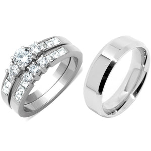 His Hers 3 PCS Silver Stainless Steel Round Cut CZ Wedding Ring set Mens Flat Band