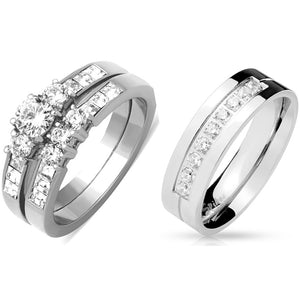 His Hers 3 PCS Stainless Steel Round Cut CZ Wedding Ring set Mens 9 Round CZ Band