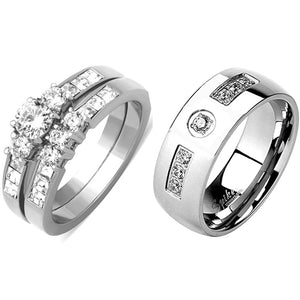 His Hers 3 PCS Silver Stainless Steel Round Cut CZ Wedding Ring set Mens 7 Round CZ Band