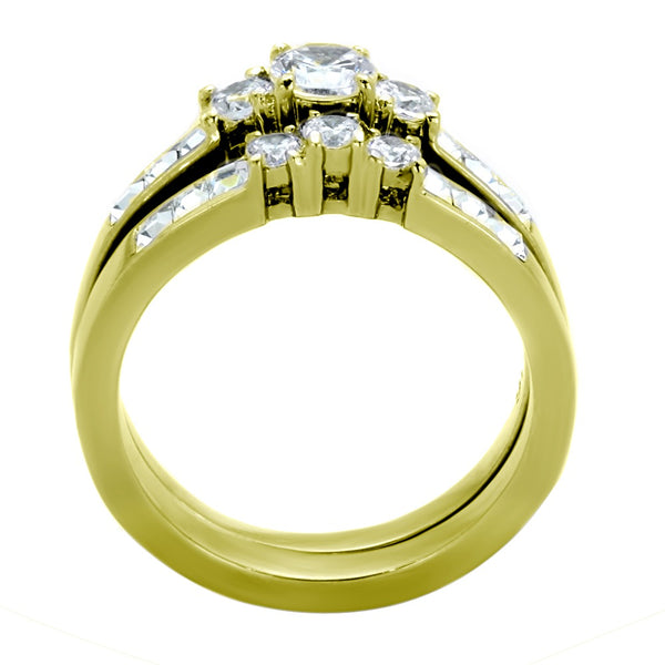 Three-Stone Type Brilliant CZ Gold IP Stainless Steel Wedding Ring Set - LA NY Jewelry