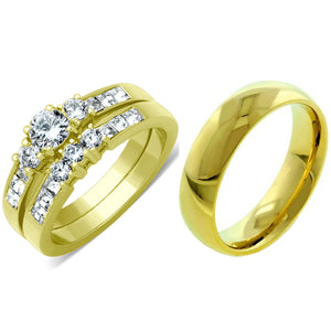 His Hers 3 Pcs Gold IP Stainless Steel Small Round Cut CZ Wedding Ring set and Mens Band