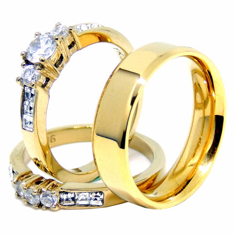 Womens 14K Gold Plated Small Round CZ Engagement Ring Mens Flat Wedding Band - LA NY Jewelry