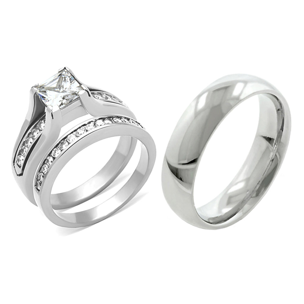 3 PCS Couple Womens 7x7mm Princess CZ Engagement Ring Set Mens Matching Band