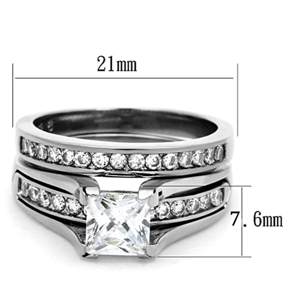 3 PCS Couple Womens 7x7mm Princess CZ Engagement Ring Set Mens All Around CZ Band - LA NY Jewelry