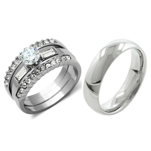 His Hers 4 PCS Womens Stainless Steel Wedding Set w/ Mens Matching Band