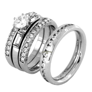 His Hers 4 PCS Womens Stainless Steel Wedding Set w/ Mens All Around Clear CZ Band - LA NY Jewelry