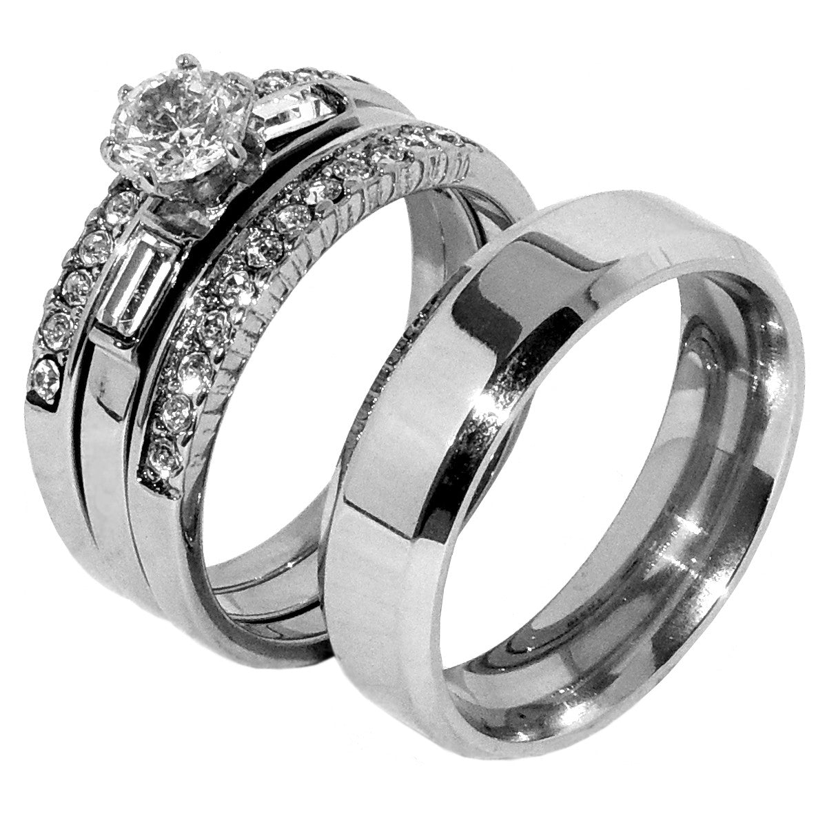 His Hers 4 PCS Womens Stainless Steel Wedding Set w/ Mens Matching Flat Band - LA NY Jewelry