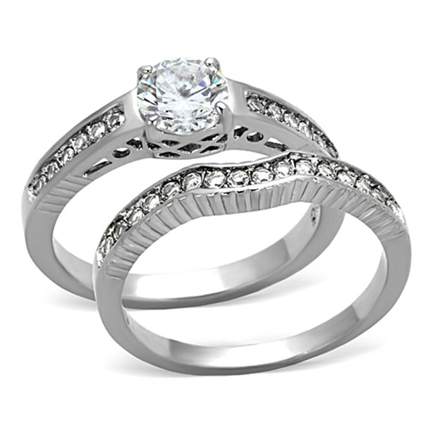 His Hers 3 PCS Clear CZ Womens Stainless Steel Wedding Set w/ Mens Matching Band - LA NY Jewelry