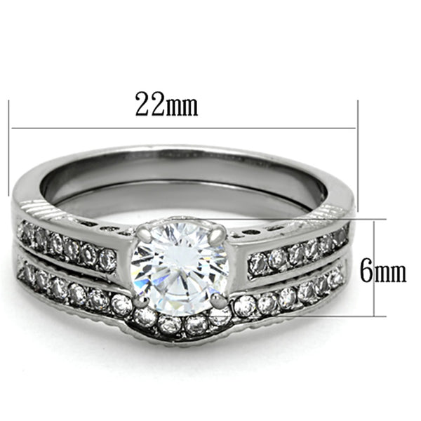 His Hers 3 PCS Womens 6x6mm Round CZ Stainless Steel Wedding Ring Set Mens All Around Clear CZ Band - LA NY Jewelry