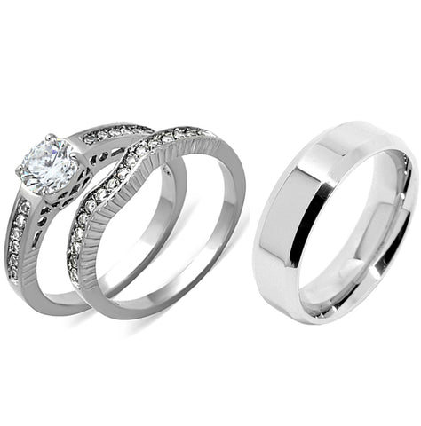 His Hers 3 PCS Womens 6x6mm Round CZ Stainless Steel Wedding Ring Set Mens Flat Band