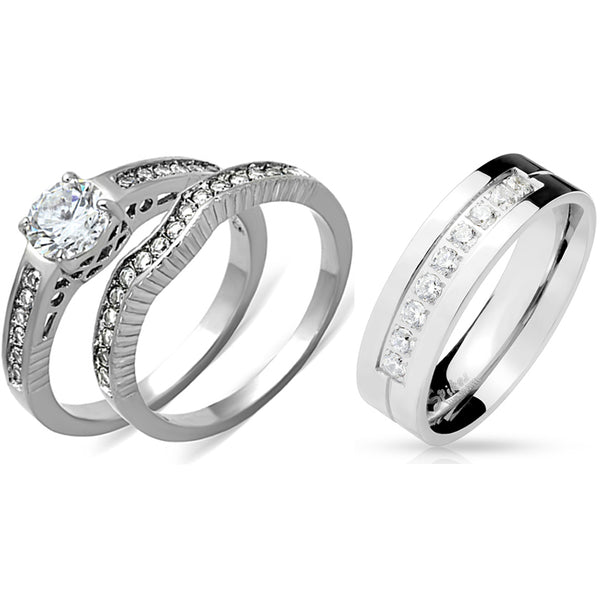 His Hers 3 PCS Womens 6x6mm Round CZ Stainless Steel Wedding Ring Set Mens 9 Round CZ Band