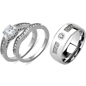 His Hers 3 PCS Womens 6x6mm Round CZ Stainless Steel Wedding Ring Set Mens 7 Round CZ Band