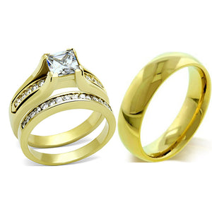 His Hers 3 PCS Princess Cut CZ Gold IP Stainless Steel Wedding Set / Mens Gold IP Band