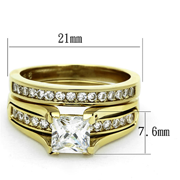 Womens 14K Gold Plated Princess CZ Engagement Ring Mens Flat Wedding Band - LA NY Jewelry