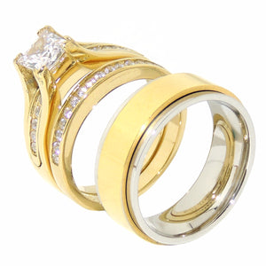 His Hers 3 PCS 7x7mm Princess Cut CZ Gold IP Stainless Steel Wedding Set Mens Gold IP Spinning Band - LA NY Jewelry