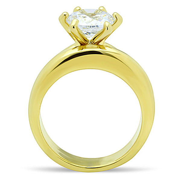 His Hers 3 PCS Round Cut CZ Solitaire Gold IP Stainless Steel Wedding Set /Mens Gold Band - LA NY Jewelry