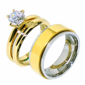 His Hers 3 PCS Round Cut CZ Solitaire Gold IP Stainless Steel Wedding Set Mens Gold Spinning Band - LA NY Jewelry