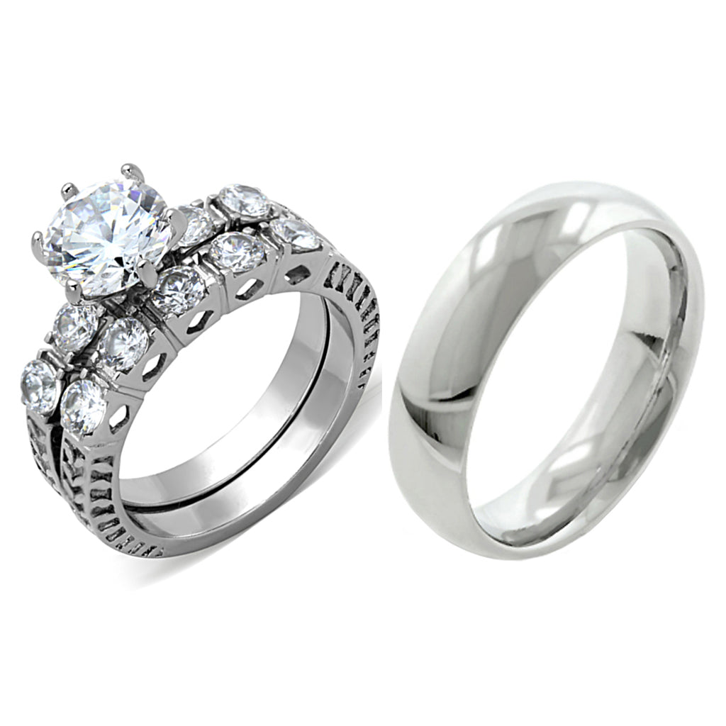 His Hers 3 PCS 8x8 mm Round Cut CZ Womens Wedding Ring Set & Mens Matching Band