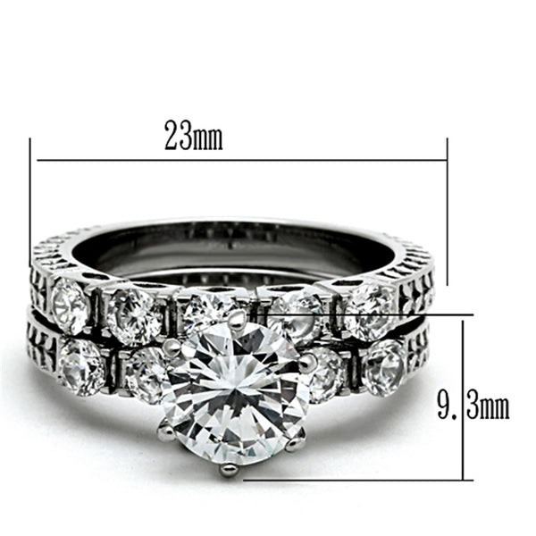 3 PCS Couple Ring Set Womens 8x8mm Round Cut CZ Stainless Steel Wedding Ring Set Mens Flat Band