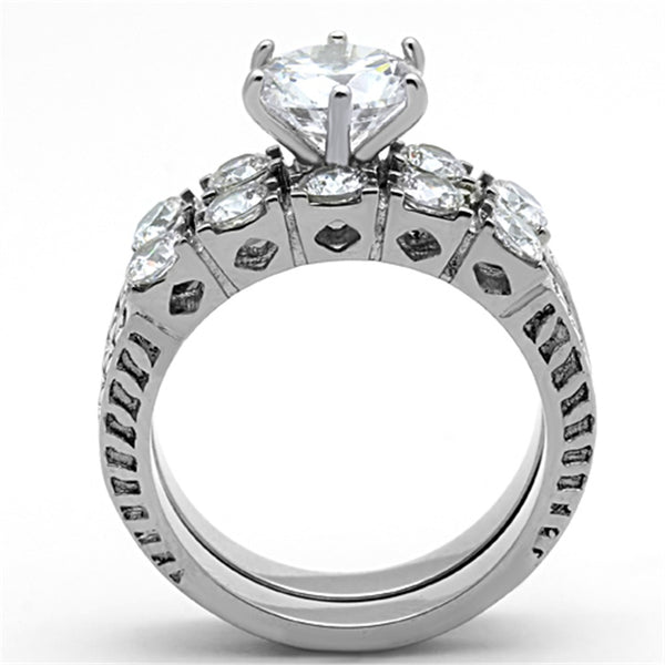 His Hers 3 PCS 8x8mm Brilliant Cut CZ Womens Wedding Ring Set & Mens Matching Band - LA NY Jewelry