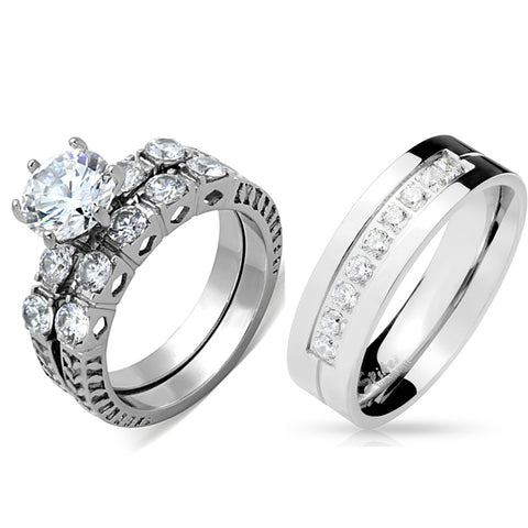 His Hers 3 PCS 8x8mm Round Cut CZ Womens Stainless Steel Wedding Ring Set Mens 9 CZ Band