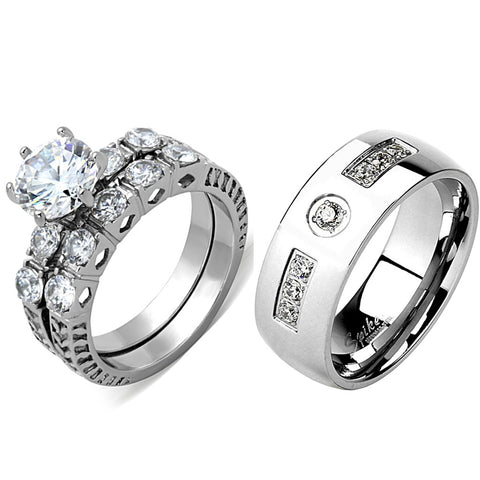 3 PCS Couple Ring Set Womens 8x8mm Round Cut CZ Stainless Steel Wedding Ring Set Mens 7 CZ Band