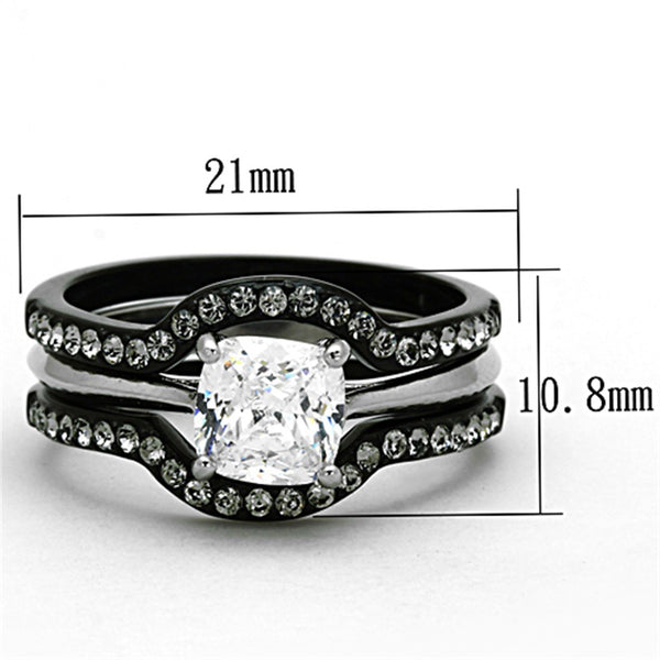 His Hers 4 PCS Black Cushion Cut CZ Promise Ring Mens 7 CZ Wedding Band - LA NY Jewelry