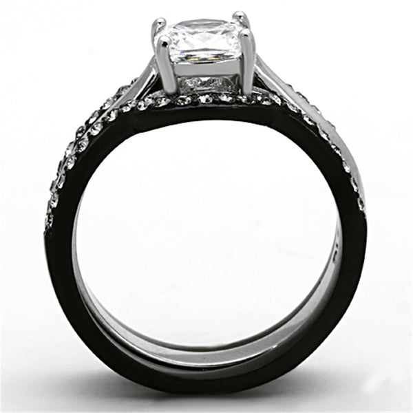 His Hers 4 PCS Black IP Stainless Steel Cushion Cut CZ Wedding Set Mens Matching Black Band - LA NY Jewelry