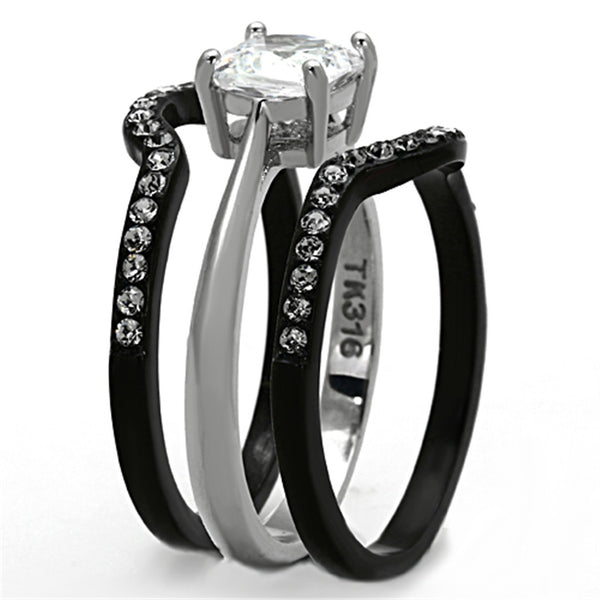 His Hers 4 PCS Black IP Stainless Steel Cushion Cut CZ Wedding Set Mens Two Tone Band - LA NY Jewelry