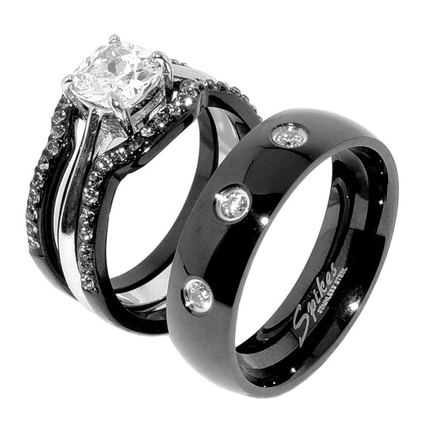 His Hers 4 PCS Black IP Stainless Steel Cushion Cut CZ Wedding Set Mens 3 CZ Matching Band - LA NY Jewelry