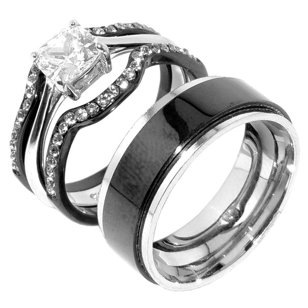 His Hers 4 PCS Black IP Stainless Steel Cushion Cut CZ Wedding Set Mens Spinning Matching Band - LA NY Jewelry